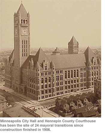 Minneapolis City Hall and Hennepin County Courthouse has been the site of 24 mayoral transitions since construction finished in 1906.